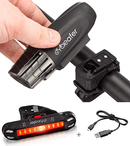 Cycleafer® Bicycle Lighting USB Biciclette ricaricabili anteriori e posteriori ultra potenti luminose | Sicurezza in bicicletta di notte | Facile installazione della resistenza all'acqua