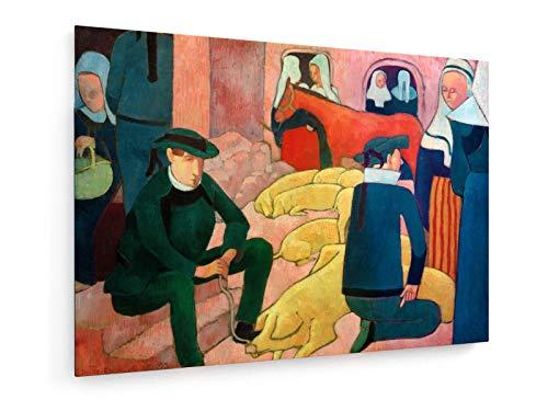 Schweinemarkt - 70x50 cm - Textil-Leinwandbild auf Keilrahmen - Wand-Bild - Kunst, Gemälde, Foto, Bild auf Leinwand - Alte Meister/Museum ()