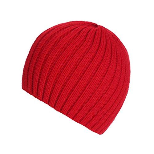 Strickmützen,Amlaiworld Unisex warm knit ski baggy Cap winter Hat (Rot) (Cap Knit Cotton)