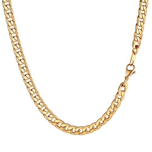 PROSTEEL Herren Kette Edelstahl Panzerkette Halskette Link Kette 7MM Breit Gliederkette für Herren, 55CM lang, Gold