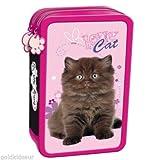 My Little Friend Katze Motiv komplett gefüllte Federtasche Federmappe Kinder Federmäppchen rosa schwarz große 2 Fächer Doppelreißverschluss Inhalt 26-tlgs.