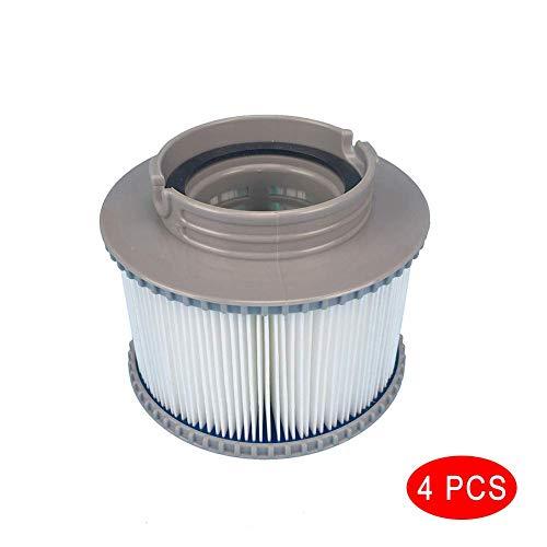 Delisouls Filter, Jacuzzi Ersatzfilter, Patronen Filter für Alle Modelle Whirlpool Heilbäder Schwimmbad für Mspa 1/2/4 Stück - 4 Stück