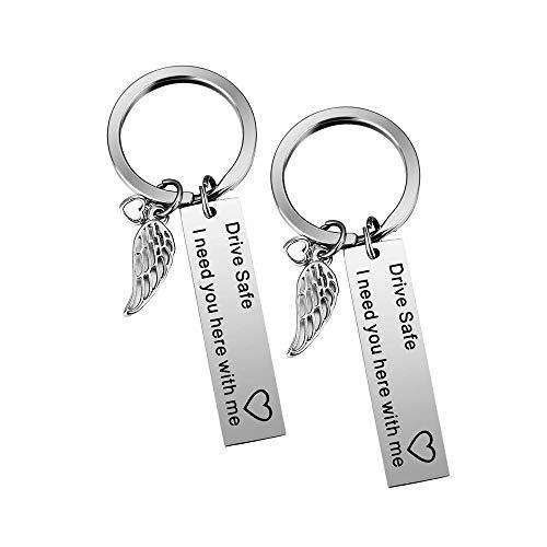 Wohlstand 2 Stück Drive Safe Schlüsselanhänger Schlüsselring, I Need You hiermit Me Schlüsselbund, Personalisierte Edelstahl Drive Safe Gebete graviert Schlüsselring für Mann, Frau, Freund, Vater