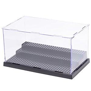 MIMIEYES - Custodia / scatola per esposizioni, in acrilico, dimensione: 25,4 cm x 14,48 x 13,4 cm, a prova di polvere, adatta per contenere le minifigure , colore della base: nero  LEGO