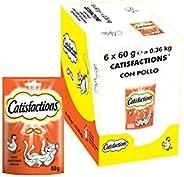 Catisfactions Snack per Gatto, Gustoso Pollo, 6 Confezioni da 60 g