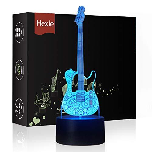 hexie luci notturne a led illuminazione lampada da tavolo da letto illusion 7 colori illuminazione smart touch button regalo sveglio regalo present decorazione creativa ideale artigianato (chitarra)