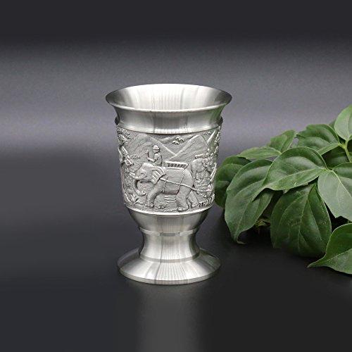 Oriental Zinn–Zinn baijiu Cup w/grifflosen für Spirituosen (Dose klein)–Pure 97% bleifreies Zinn handgeschnitzt Schöne, geprägt mit Elefanten handgefertigt in Thailand hierbei ist