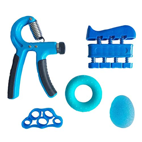ZYJFP Handtrainer Fingertrainer Set, Hand Trainingsgerät Unterarmtrainer Einstellbar Hand Grip Für Klettern Fitness Therapie Krafttranieren Handrehabilitation,Blue