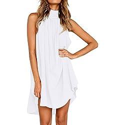 """WINWINTOM 2018 Cóctel Fiesta Diario Playa Vestir, Verano Mujer Casual Vestidos, Mujer Strappy Suelto Casual Corto Mini Vestir Verano Playa Vestir Más (L(Bust:116cm/45.6""""), Blanco)"""