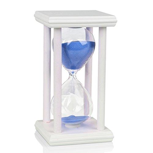 BOJIN Holz 10 Minuten Weiß Rahmen Blau Sand Glas Sanduhr Stundenzähler Sanduhr 10 Minuten für Kinder Sanduhr Sanduhr Timer Sanduhr Sanduhr Sanduhr Sanduhr Spiel Home Dekoration