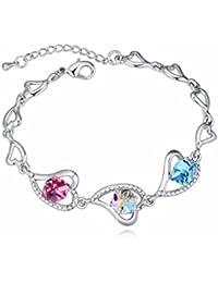 NEVI Heart Swarovski Crystals Rhodium Plated Single Strand Charm Bracelet Jewellery for Women and Girls