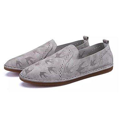 SHOESHAOGE Chaussures Pour Femmes Pu Printemps Automne Mocassins Confort &Amp; Slip-Ons Talon Plat Bout Rond Fleur Pour Kaki Beige Gris Casual Gray