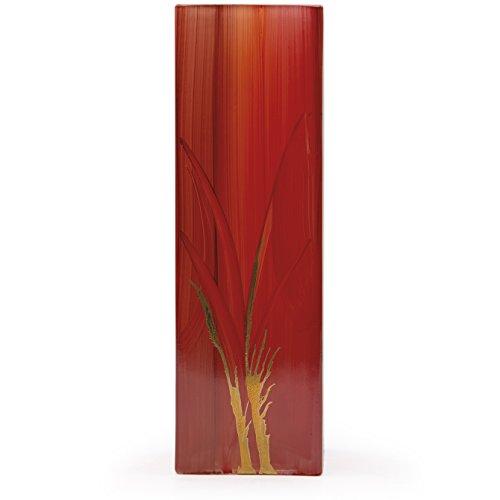 Angela neue Wiener Werkstaette Glasvase veredelt, Glas, Rot, 8 x 8 x 25 cm