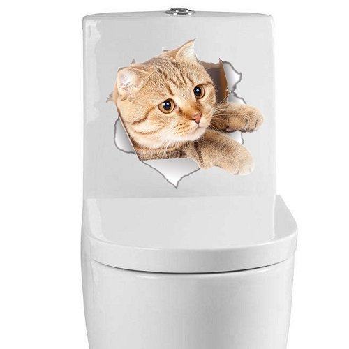-Homeworld- Großer Katzen-Aufkleber mit 3D Effekt, 21x22cm, Perfekt für WC Toilettendeckel, Den Kühlschrank und Verschiedene Weiße Möbel. Tolles Geschenk für Katzenliebhaber! #20