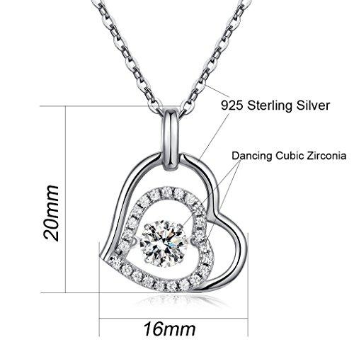 """Einfache Herz-Halskette,Ich Liebe Dich Sterling Silber Herz Halskette,""""Du Bist Der Einzige in Meinem Herzen"""" Liebe Herz Halskette,Damen Herz Halskette,Tanzen Diamant Anhänger"""