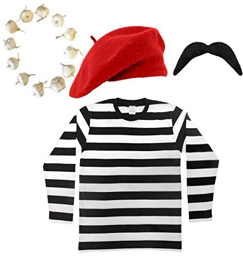 Dress Kostüm Fancy Olympic Men's - Französischer Mann-Kostüm, Verkleidung mit schwarz-weiß gestreiftem Oberteil, roter oder schwarzer Baskenmütze, schwarzem Schnurrbart und einer Girlande aus Zwiebeln/Knoblauch