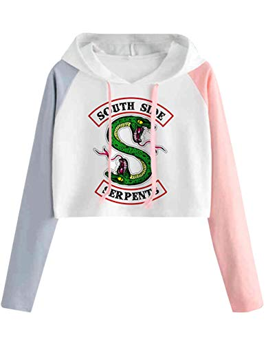 Riverdale Pullover Damen Bauchfrei, Teenager Mädchen Southside Serpents Patchwork Hoodie Pulli Spleißen Farbe Kapuzen Sweatshirt Kurz Crop Tops Kapuzenpullover Kapuzenpulli Oberteile Shirt (2, L)