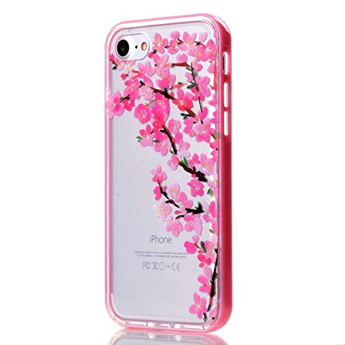 """MOONCASE iPhone 7 Coque, IMD Gel Souple TPU Case Fleur Motif Cover pour iPhone 7 4.7"""" Transparente Housse Antidérapant en Silicone Avec Absorption de Chocs [Butterflies Pattern] Flower"""