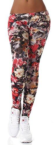 Q.A. Damen Leggings lang in verschiedenen Designvarianten, rot Blume Größe 34-40 -