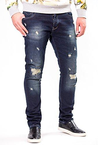 2Y - Premium Herren Jeanshose Straight Fit Destoyed Blue Jeans