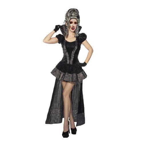 Elbenwald Damen Vampir Kostüm, kurzes Korsagenkleid, Stehkragen, Petticoat, -