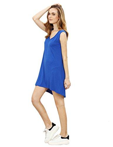 ROMWE Damen Basic V Ausschnitt Ärmellos Casual Minikleid Trägerkleid Blau