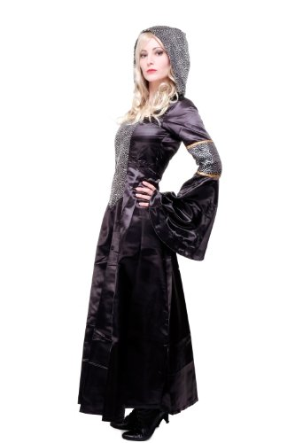 Kostüm Damen Damenkostüm aufwändiges Kleid mit Haube Mittelalter Romantik Elfe Gotik Gothic Burgfräulein L068 Gr. 46 / L - 2