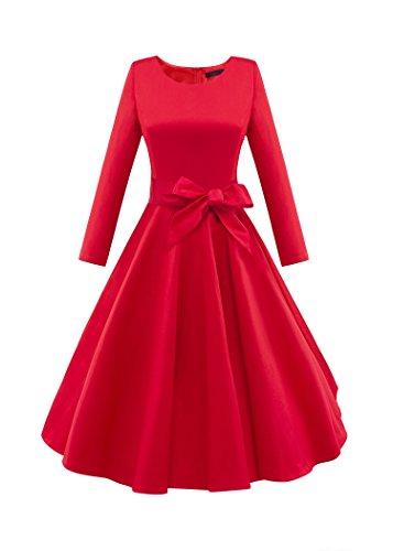 iLover Frauen Retro 3/4 Ärmel mit Gürtel Lässige Brautjungfern-Weinlese-Kleid Red