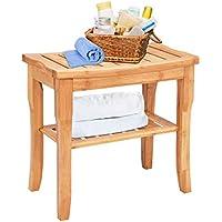 Taburete de ducha de bambú con estante de almacenamiento, taburete de bambú que funciona como