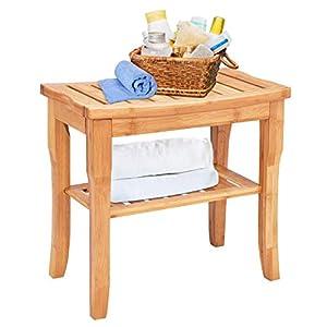 Taburete de ducha de bambú con estante de almacenamiento, taburete de bambú que funciona como taburete de zapatos, banco…