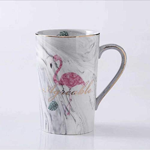 Gold-plated Cup (XIAMD Tasse Ceramic Mug Gold Plated Milk Coffee Tea Mugs with Spoon Handle Household 55 Celsius Heating Thermostat Padoffice Cup,2,360Cm)