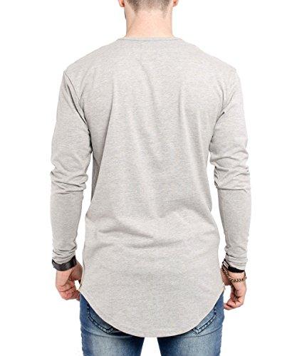 Phoenix Oversize Longsleeve T-Shirt Herren Langarm Longshirt mit Reißverschluss Grau