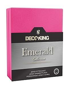 DecoKing 17265 Spannbettlaken 100 x 200 - 120 x 200 cm Jersey 100% Baumwolle Boxspringbett Spannbetttuch Emerald Collection, rosa