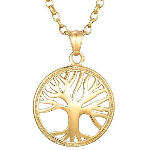 Morella Damen Halskette 70 cm mit Anhänger Lebensbaum Kraft Silber im Schmuckbeutel