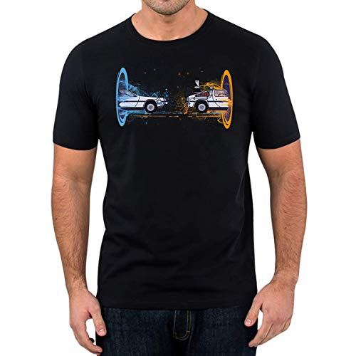T-Shirt Delorean Portal Edition Fun Film TV Game Nerd (S)