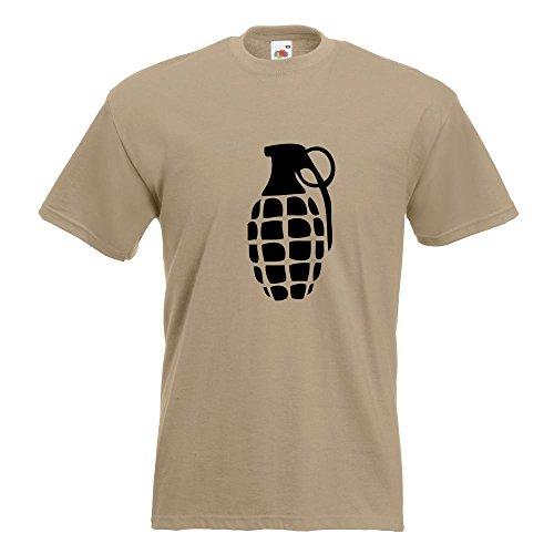 KIWISTAR - Handgranate T-Shirt in 15 verschiedenen Farben - Herren Funshirt bedruckt Design Sprüche Spruch Motive Oberteil Baumwolle Print Größe S M L XL XXL Khaki