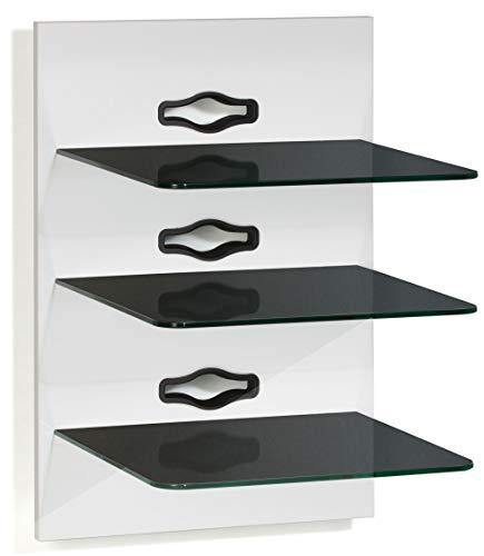 VCM Paneel Hifi Halterung Receiver DVD-Player Möbel Konsole Wandregal Weiß/Schwarzglas 'Xeno-3 Schwarzglas'