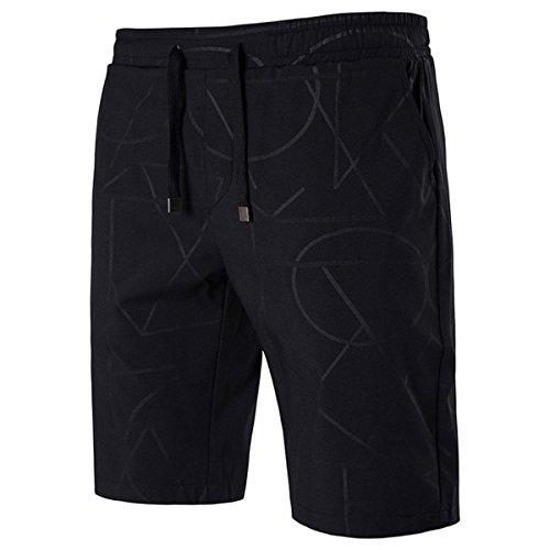 HET Männer Mode Persönlichkeit Casual Shorts Badehose Quick Dry Beach Surfen Laufen Schwimmen Wasserhosen (XXXXL, Schwarz)