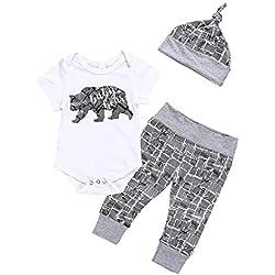 sunnymi® Jeu d'enfants Infant Bébé Vêtement Garçon Ours Lettre Barboteuse Pantalon + Chapeau 3PCS Ensemble Set Coton Mélange (0-18 M)