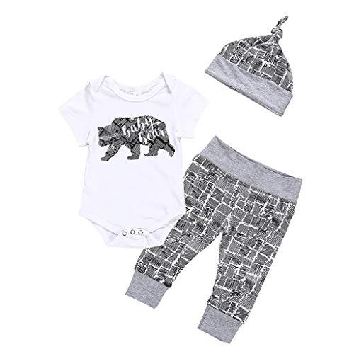 Baby Jungen Freizeitkleidung Bär Brief Dünne Spielanzug + Pants + Hut 3 STÜCKE Outfits Set 0-18 Monate ()