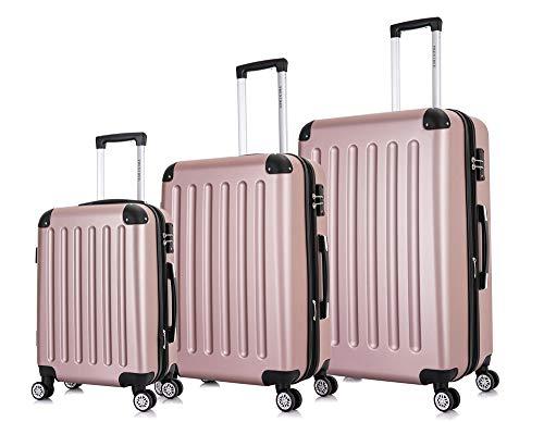 Frentree Handgepäck Koffer   Reisekoffer   Hartschalenkoffer mit 4 Rollen und TSA-Schloss, erweiterbar, Koffer Standard Farbe:Rosa Gold, Koffer 226 Grösse:Koffer Set(3 Teilig)