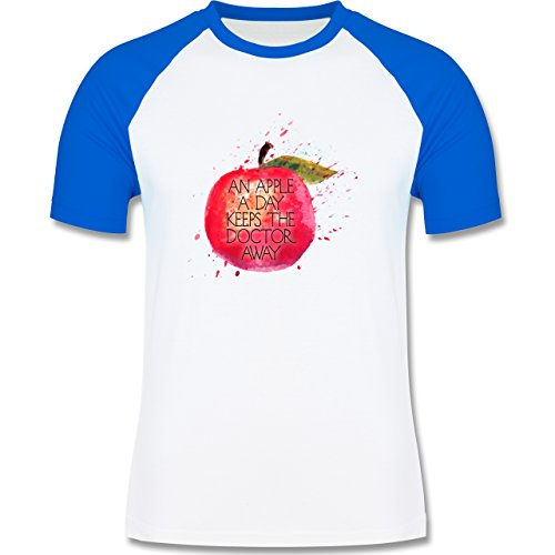 Statement Shirts - An apple a day keeps the doctor away - zweifarbiges Baseballshirt für Männer Weiß/Royalblau
