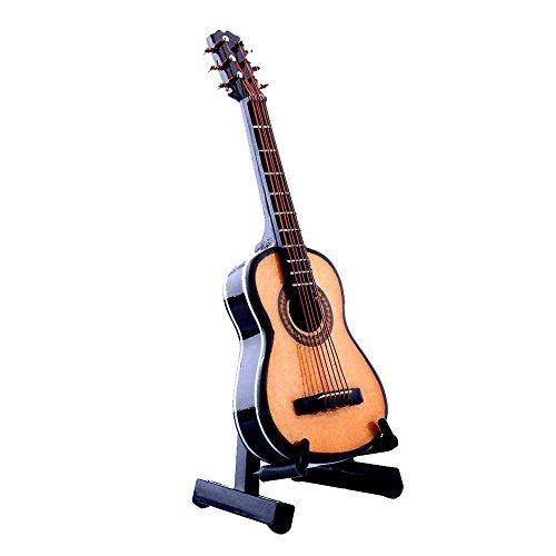 Forfar Guitarra acústica de madera 0.05 con el soporte y la caja Instrumento musical Miniaure Dollhouse