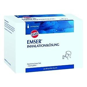 Emser Inhalationslösung mit Natürlichem Emser Salz – Inhalation bei Erkältung, Asthma und Bronchitis – 20 Ampullen à 5 ml