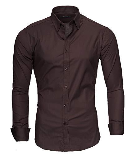 Kayhan uni camicia slim fit, brown (m)