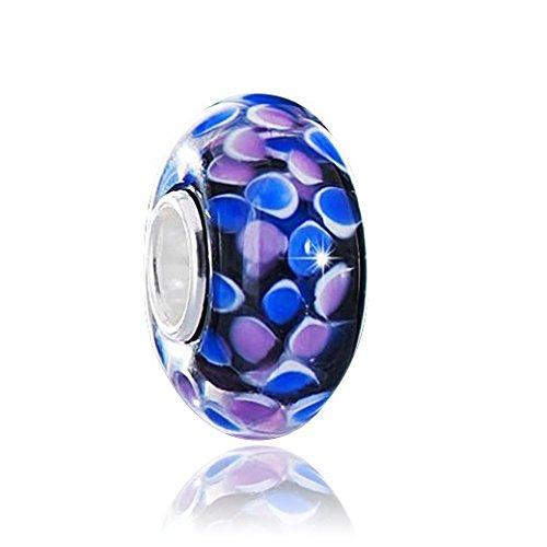 MATERIA Original 925 Sterling Silber Beads Glas Anhänger - Murano Glasperle Beads schwarz blau rosa #1488