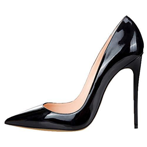 wthfwm Damen Spitze Zehen Stiletto Spitze Zehe Stilettos Pumps Schuh Formale Slip-on Leder Mode Größe Lackleder Damenschuhe,Black-42 Stiletto Pumps Schuhe