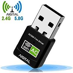 WLAN Adapter,WiFi Stick 600Mbps Mini Dual Band 2.4GHz / 5GHz Wireless USB Adapter Empfänger 802.11ac/n/g/b Netzwerk Dongles WPS,für PC,für Windows XP / 7/8 /10/ Vista Keine CD benötigt Plug & Play