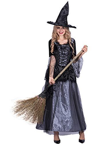 AWLLY Halloween Damen Renaissance Spider Hexe Kostüm Damen Kleid Rock Mit Hexenhut Für Masquerade Cosplay,L (Kostüm Renaissance Hexe)