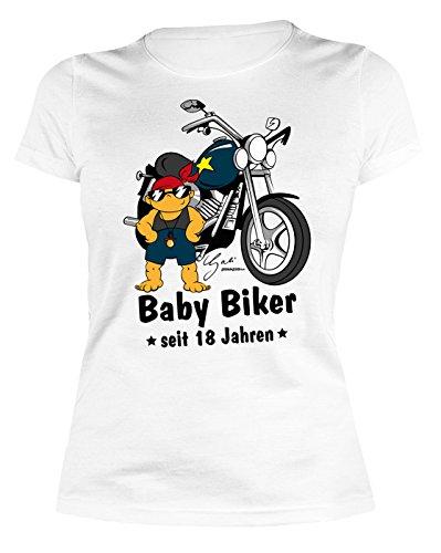 Damen T-Shirt zum Geburtstag: Baby Biker seit 18 Jahren - Tolle Geschenkidee - Farbe: weiss Weiß